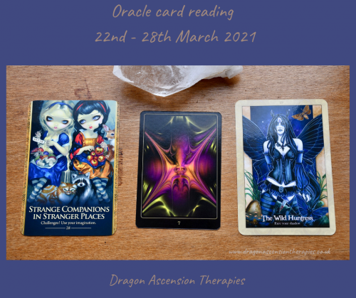 Photo of the three cards drawn for 22nd to 28th March 2021