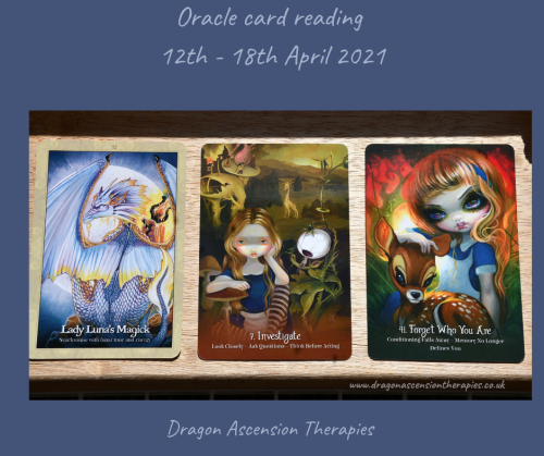 photo of the three cards pulledd for the reading 12th to 18th April 2021