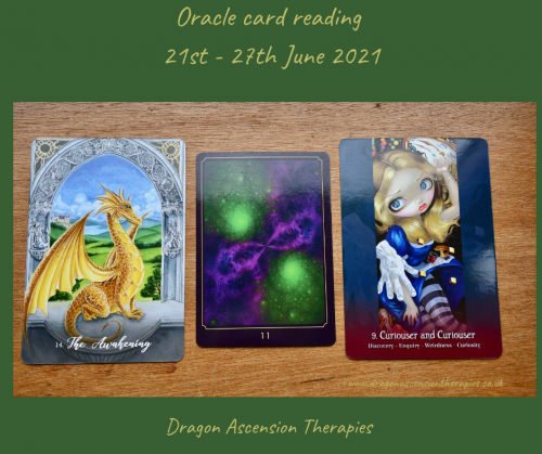 cards drawn for weekly reading 21st to 27th June 2021