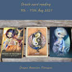photo of the three cards drawn for 9th to 15th August 2021