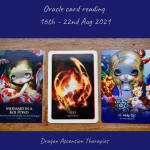 photo of the three main cards drawn for 16th to 22nd August 2021