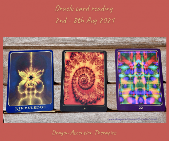 photo of cards pulled for oracle reading 2nd to 8th August 2021